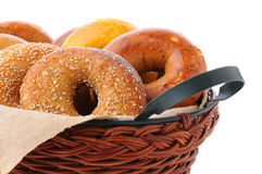 Bagels In Basket Royalty Free Stock Images