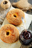 Bagels and jam in a jar. Stock Images