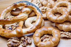 Bagels and knot-shape biscuits Stock Photography