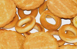 Bagels. Many bagels on a white background isolated Stock Photos