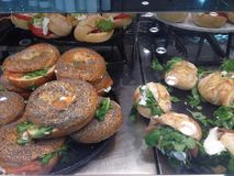 Bagels and more. At display Stock Images