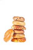 Bagels no fundo branco Imagens de Stock Royalty Free