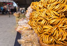 Bagels and other bread products outdoor on food festival Stock Images