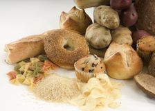 Bagels and other carbs stock image