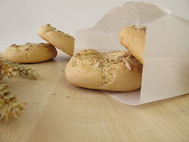Bagels in paper bag Royalty Free Stock Photos