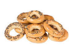 Bagels with poppy seeds. On white backgroung Royalty Free Stock Images