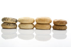 Bagels with poppy seeds bagels with sesame wholemeal bagels on white background Royalty Free Stock Image