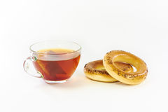 Bagels with poppy seeds and black tea Stock Image
