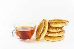 Bagels with poppy seeds and black tea Stock Images