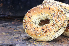Bagels on Rustic Background Royalty Free Stock Image