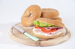 Bagels On Rustic Board Stock Image