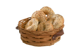 Bagels in a rustic brown basket Royalty Free Stock Images