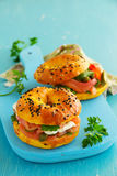 Bagels with salmon Stock Images