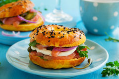 Bagels with salmon Royalty Free Stock Photography