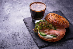 Bagels with salmon, cream cheese and lettuce Royalty Free Stock Photo