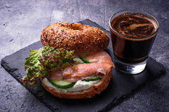 Bagels with salmon, cream cheese and lettuce Stock Photography