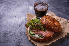 Bagels with salmon, cream cheese and lettuce Stock Images