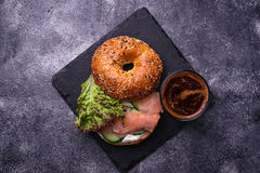Bagels with salmon, cream cheese and lettuce Royalty Free Stock Images