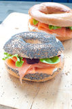 Bagels with salmon and  cream Royalty Free Stock Photos