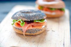 Bagels with salmon and  cream Stock Photos