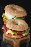Bagels with salmon and egg Royalty Free Stock Image
