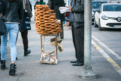 Bagels seller on the street in Istanbul, Turkey Stock Image