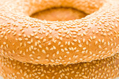 Bagels with sesam. Gold bagels with sesam, closeup Stock Photography