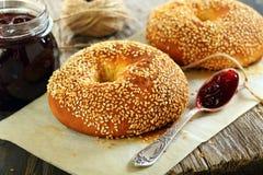 Bagels with sesame seeds closeup. Stock Photos