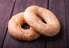 Bagels with sesame seeds. On wwod royalty free stock image