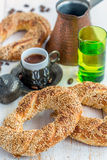 Bagels with sesame and Turkish coffee. Stock Images