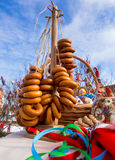 Bagels and souvenirs dedicated to the holiday of Maslenitsa Royalty Free Stock Image