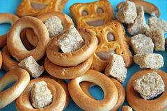 Bagels and sugar. Russian bagels, cookies in the form of a smile, reed sugar Stock Images