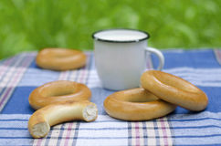 Bagels on tartan tablecloth Stock Photos