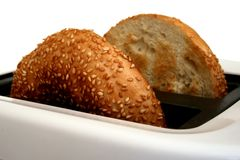 Bagels in the toaster Stock Photo