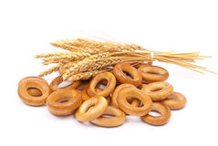 Bagels with wheat ears Stock Photos