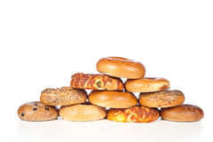 Bagels on white background Royalty Free Stock Photography
