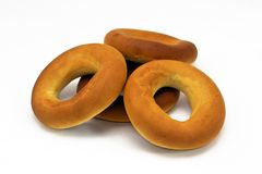 Bagels. On the white background, farinaceous food Royalty Free Stock Image