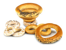 Bagels on white background isolate Royalty Free Stock Photo