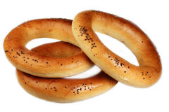 Bagels on a white background Royalty Free Stock Photo