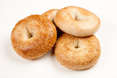 Bagels on white background Royalty Free Stock Image