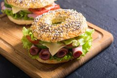 Bagels With Ham Stock Image