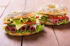 Bagels With Ham Stock Photos