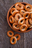 Bagels in a wooden bowl Stock Photography
