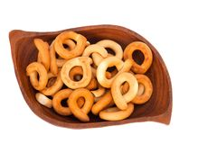 Bagels on a wooden plate Royalty Free Stock Photography