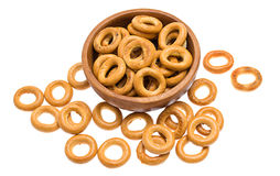 Bagels on a wooden plate Stock Photo
