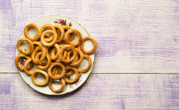 Bagels on a wooden table. Royalty Free Stock Photography