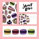 Bageri, baner för bakelsesötsak- och efterrättvektor med kakor och muffin, muffin, pajer och tarts, ljusbruna puddingar för vanil vektor illustrationer