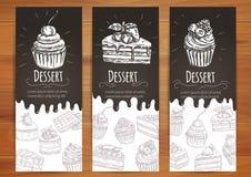 Bageri konfekt, bakelser, efterrättaffisch stock illustrationer