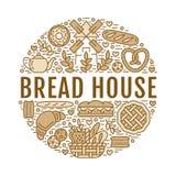 Bageri mall för brödhusaffisch Vektormatlinje symboler, illustration av sötsaker, kringlagiffel, muffin, bakelse stock illustrationer