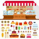 Bageri med konfekt på hyllorna royaltyfri illustrationer